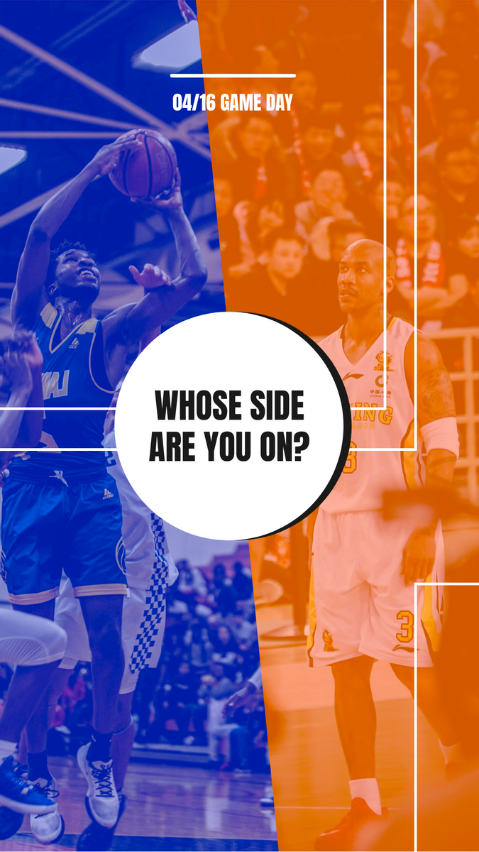 Instagram Story template: Blue And Orange Photo Basketball Match Instagram Story (Created by InfoART's Instagram Story maker)