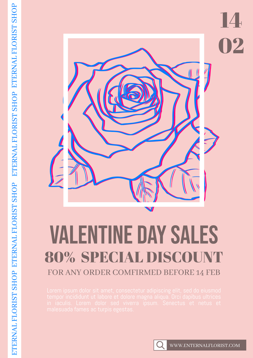 Poster template: Valentine Day 0214 Sales Poster (Created by InfoART's Poster maker)