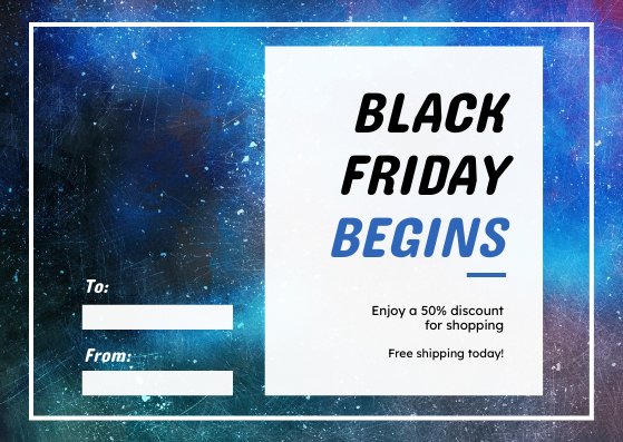 Gift Card template: Galaxy Space Black Friday Begins Gift Card (Created by InfoART's Gift Card maker)