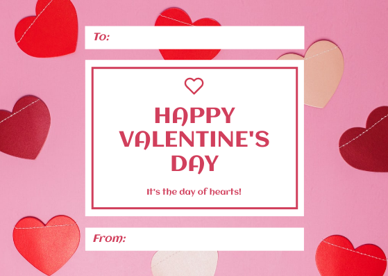 Gift Card template: Pink Red Hearts Background Valentine's Day Gift Card (Created by InfoART's Gift Card maker)