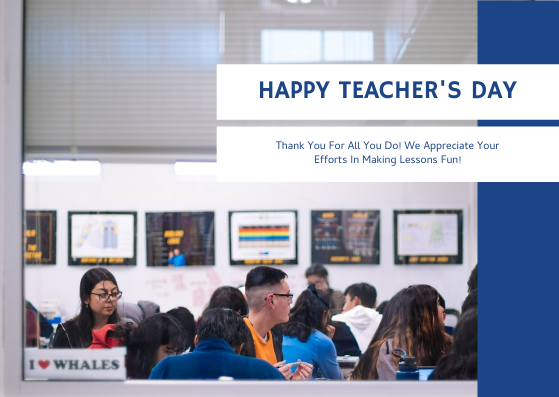 Postcard template: Blue And white Photo Teacher's Day Postcard (Created by InfoART's Postcard maker)