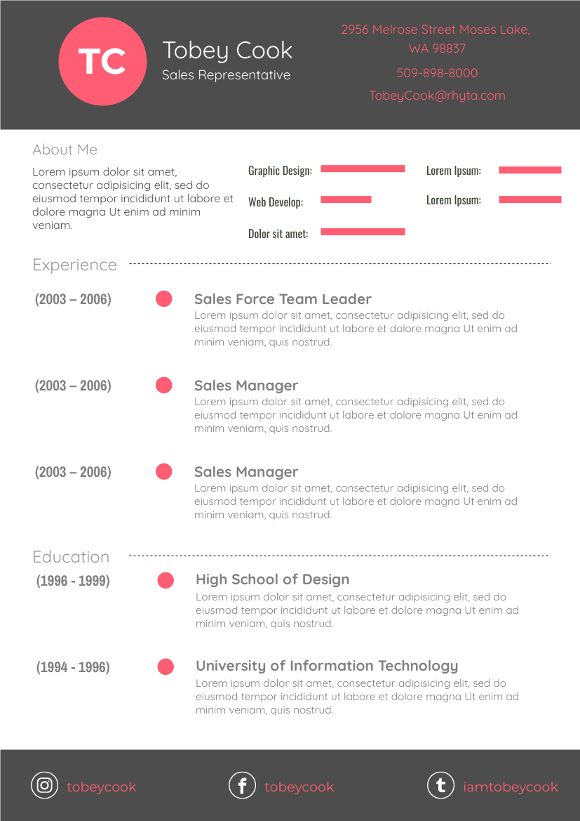 Resume template: Red Resume (Created by InfoART's Resume maker)
