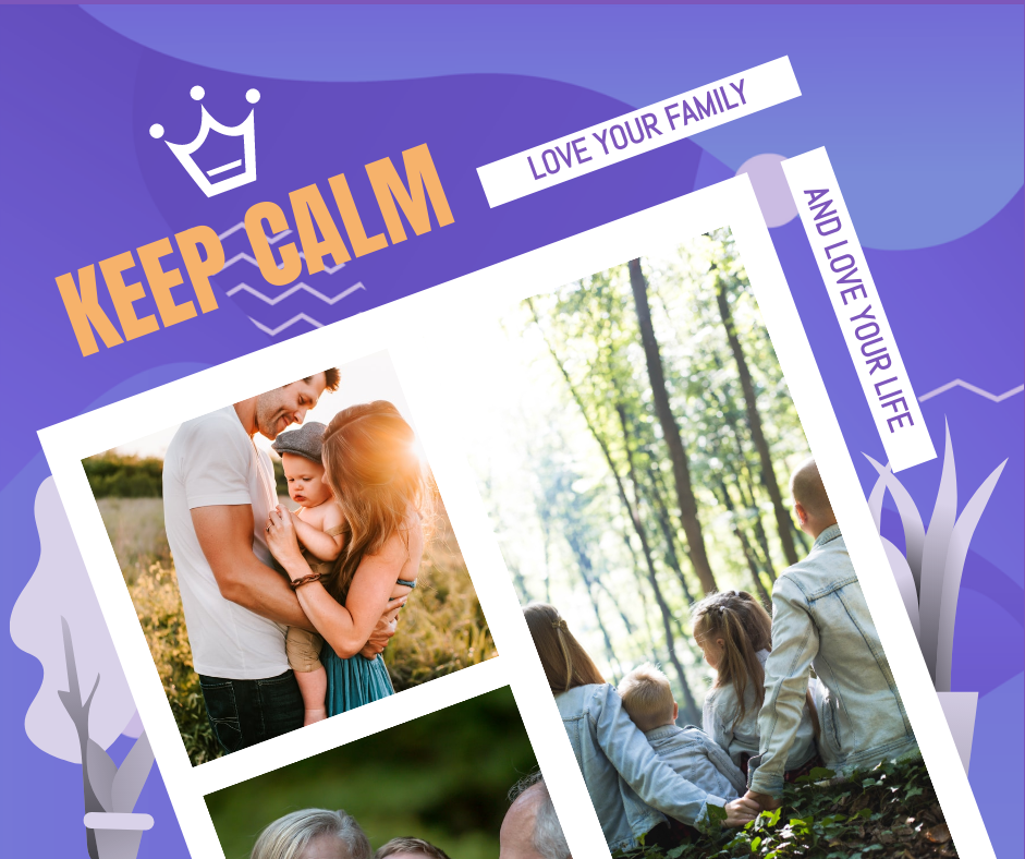 Facebook Post template: Keep Calm Family Quote Facebook Post (Created by Collage's Facebook Post maker)