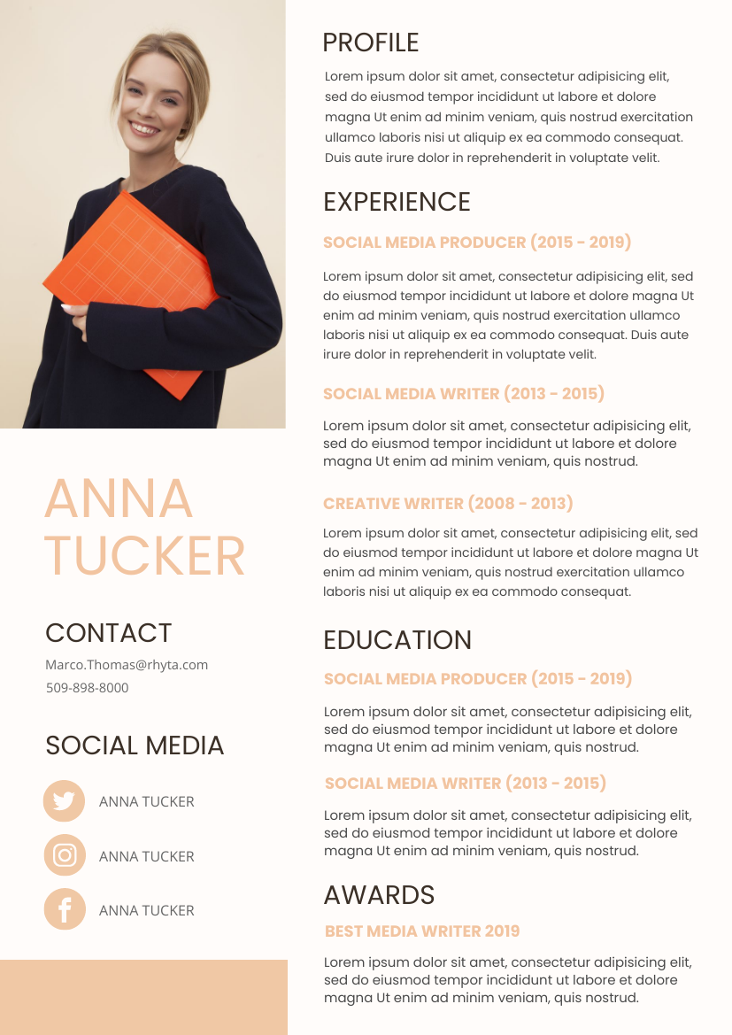 Resume template: Pink Resume 4 (Created by InfoART's Resume maker)