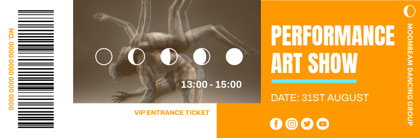Ticket template: Dancing Performance Art Show Ticket (Created by InfoART's Ticket maker)