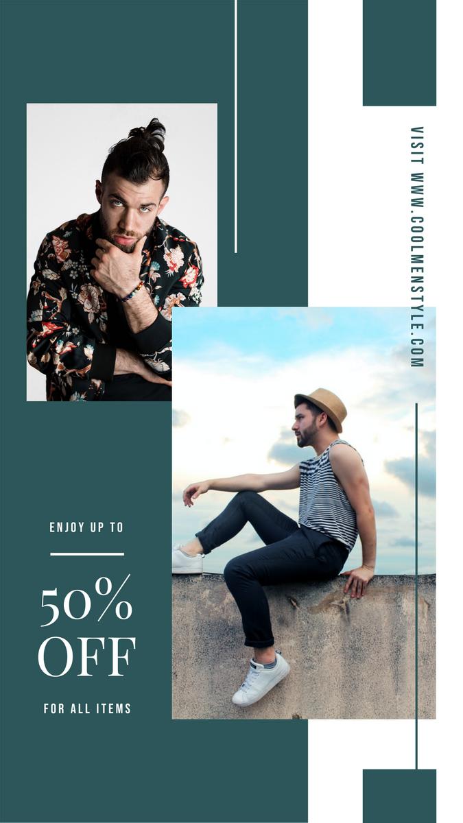Instagram Story template: Minimal Green Men Wear Sale Promotion Instagram Post (Created by InfoART's Instagram Story maker)