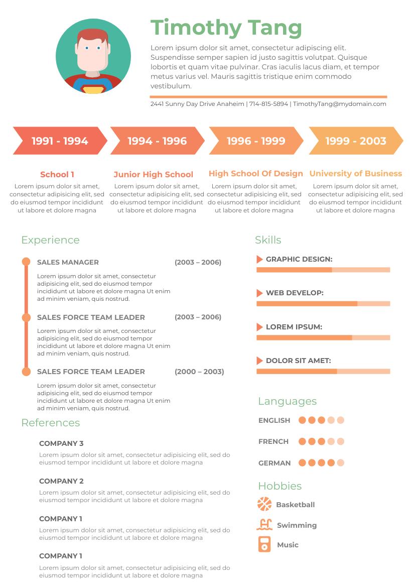 Resume template: Timeline Resume (Created by InfoART's Resume maker)