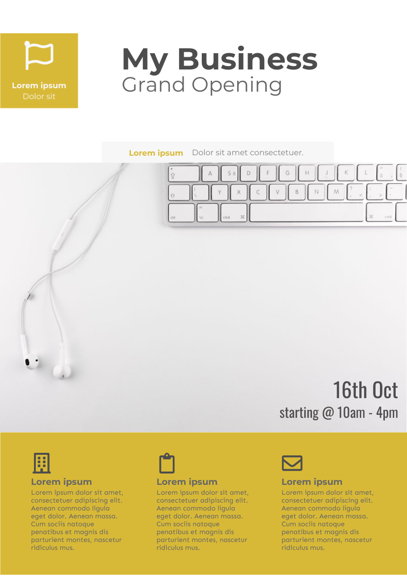 Flyer template: Business Company Grand Opening Flyer (Created by InfoART's Flyer maker)