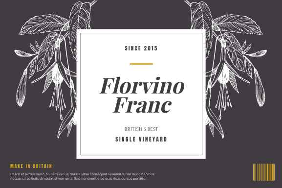 Label template: Floral Illustrated Wine Product Label (Created by InfoART's Label maker)