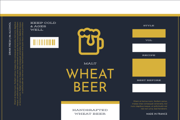 Label template: Beer Illustration Wheat Beer Product Label (Created by InfoART's Label maker)