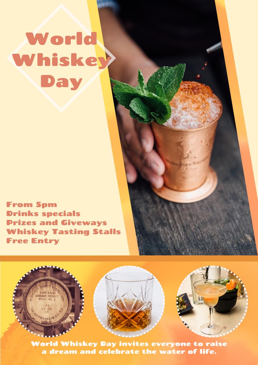 Flyer template: World Whiskey Day Orange Flyer (Created by InfoART's Flyer maker)