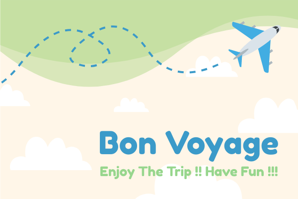 Greeting Card template: Flight Bon Voyage Card (Created by InfoART's Greeting Card maker)