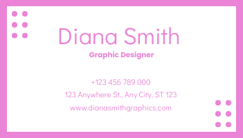 Business Card template: Sharp Pink With Dots Pattern Business Card (Created by InfoART's Business Card maker)