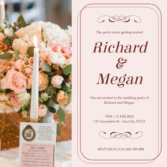Invitation template: Pink Romantic Floral Photo Wedding Invitation (Created by InfoART's Invitation maker)