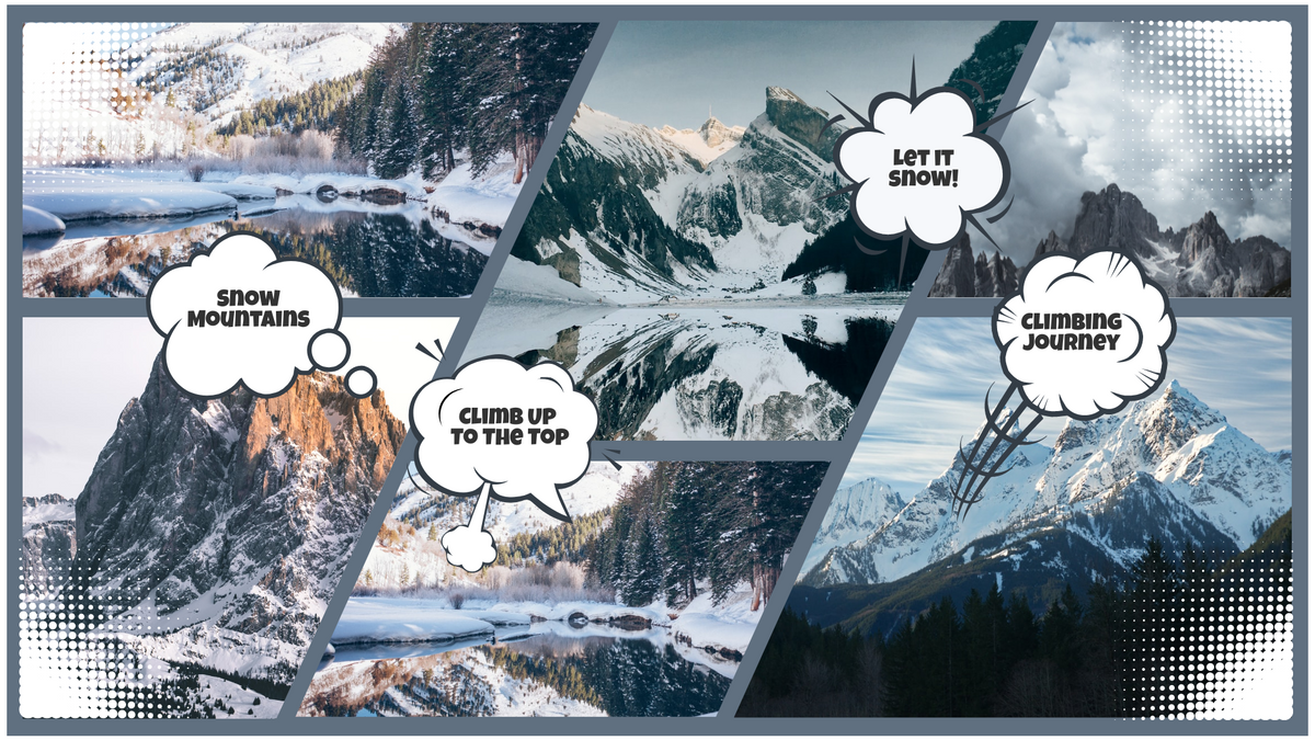 Comic Strip template: Snow Mountains Comic Strip (Created by Collage's Comic Strip maker)