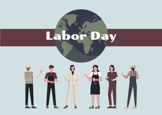 Postcard template: Labor Day Human Illustration  Postcard (Created by InfoART's Postcard maker)