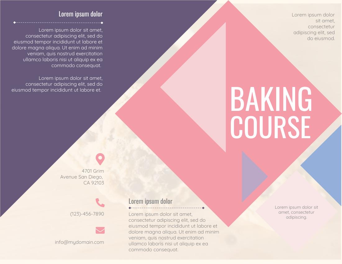 Brochure template: Baking Course (Created by InfoART's Brochure marker)