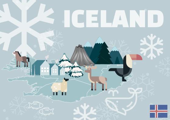 Postcard template: Iceland Postcard (Created by InfoART's Postcard maker)