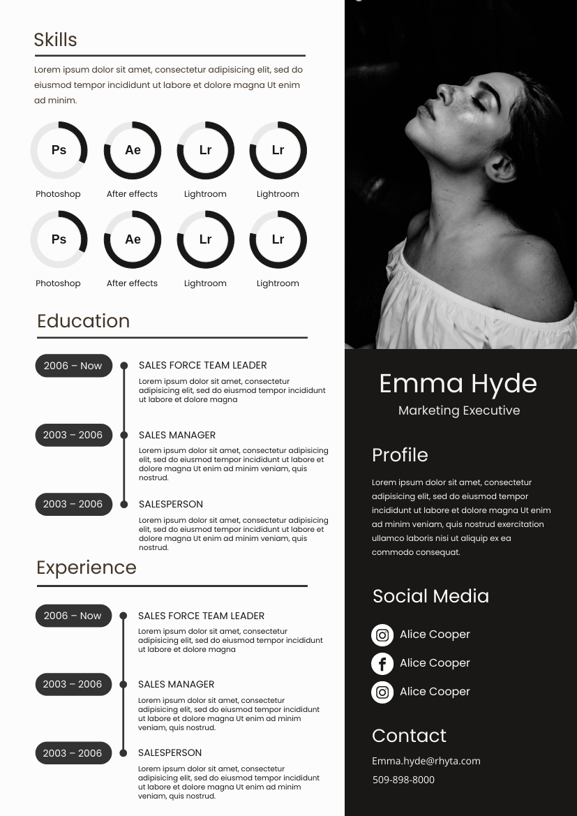 Resume template: Classic Black And White Resume (Created by InfoART's Resume maker)