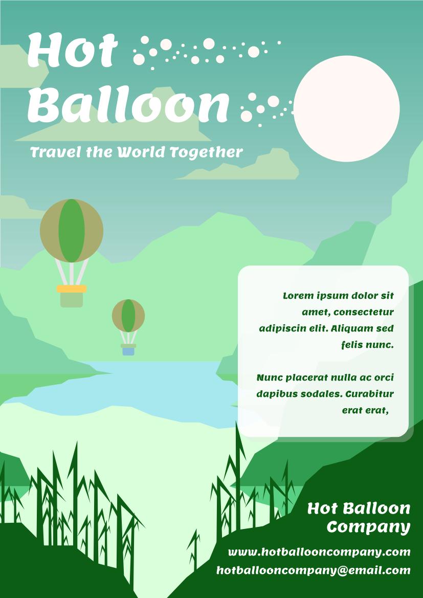 Flyer template: Hot Balloon Travelling Flyer (Created by InfoART's Flyer maker)