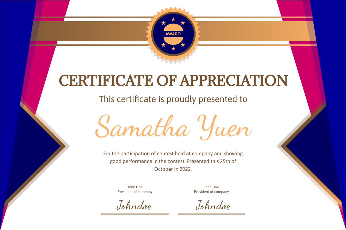Blue Curtain Certificate Of Appreciation  Certificate Template With Certificates Of Appreciation Template