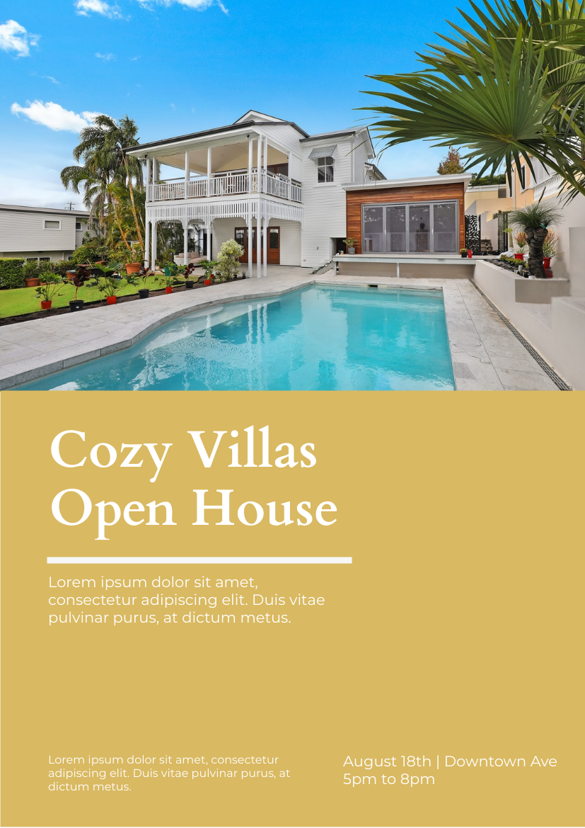 Flyer template: Cozy Villa Open House (Created by InfoART's Flyer maker)