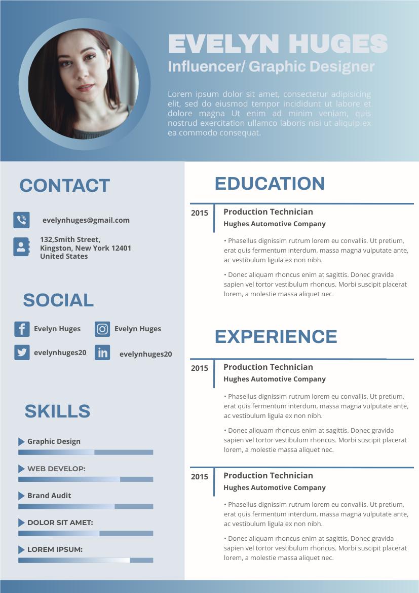 Resume template: Wedgewood Resume (Created by InfoART's Resume maker)