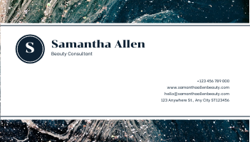 Business Card template: Navy Marble Pattern Photo Business Card (Created by InfoART's Business Card maker)