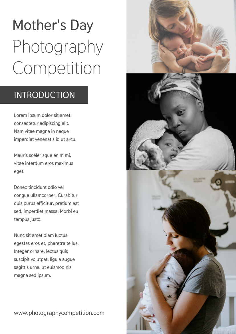 Flyer template: Mother's Day Photography Competition Flyer (Created by InfoART's Flyer maker)