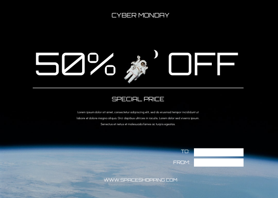 Gift Card template: Space Astronaut Photo Cyber Monday Gift Card (Created by InfoART's Gift Card maker)