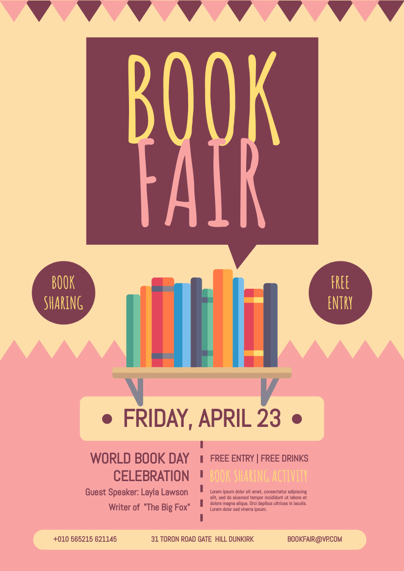 Flyer template: World Book Day Book Fair Flyer (Created by InfoART's Flyer maker)