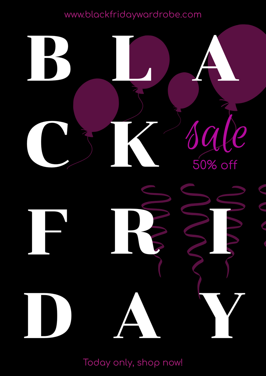 Poster template: Black And Pink Typography Black Friday Sale Poster (Created by InfoART's Poster maker)