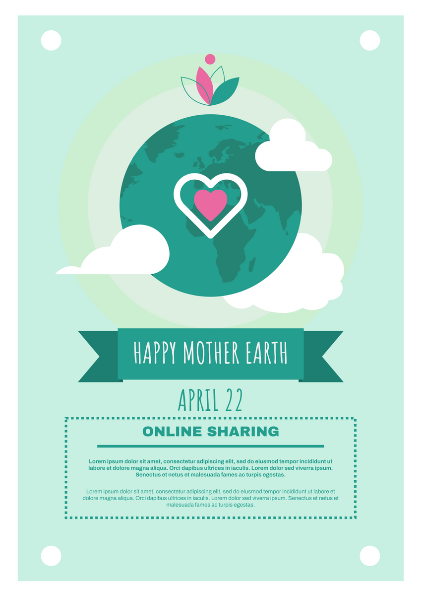 Poster template: Earth Day Online Sharing Poster (Created by InfoART's Poster maker)