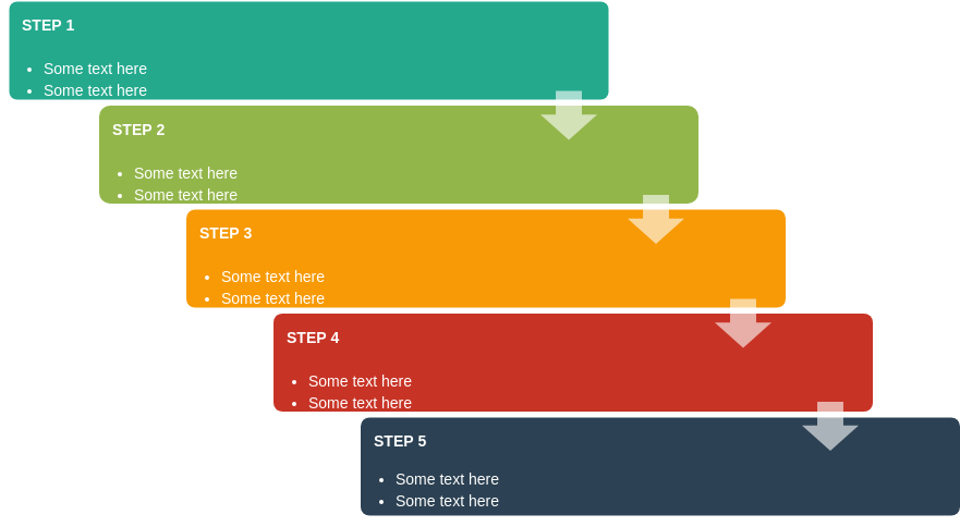 Process Block Diagram template: Staggered Process (Created by Diagrams's Process Block Diagram maker)