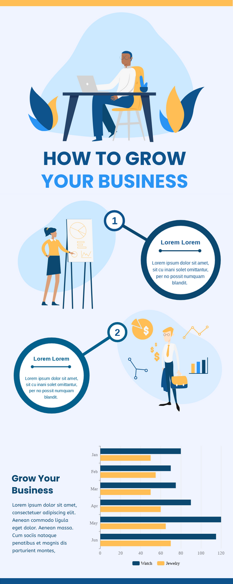 Infographic template: How To Grow Your Business Infographic (Created by InfoART's Infographic maker)