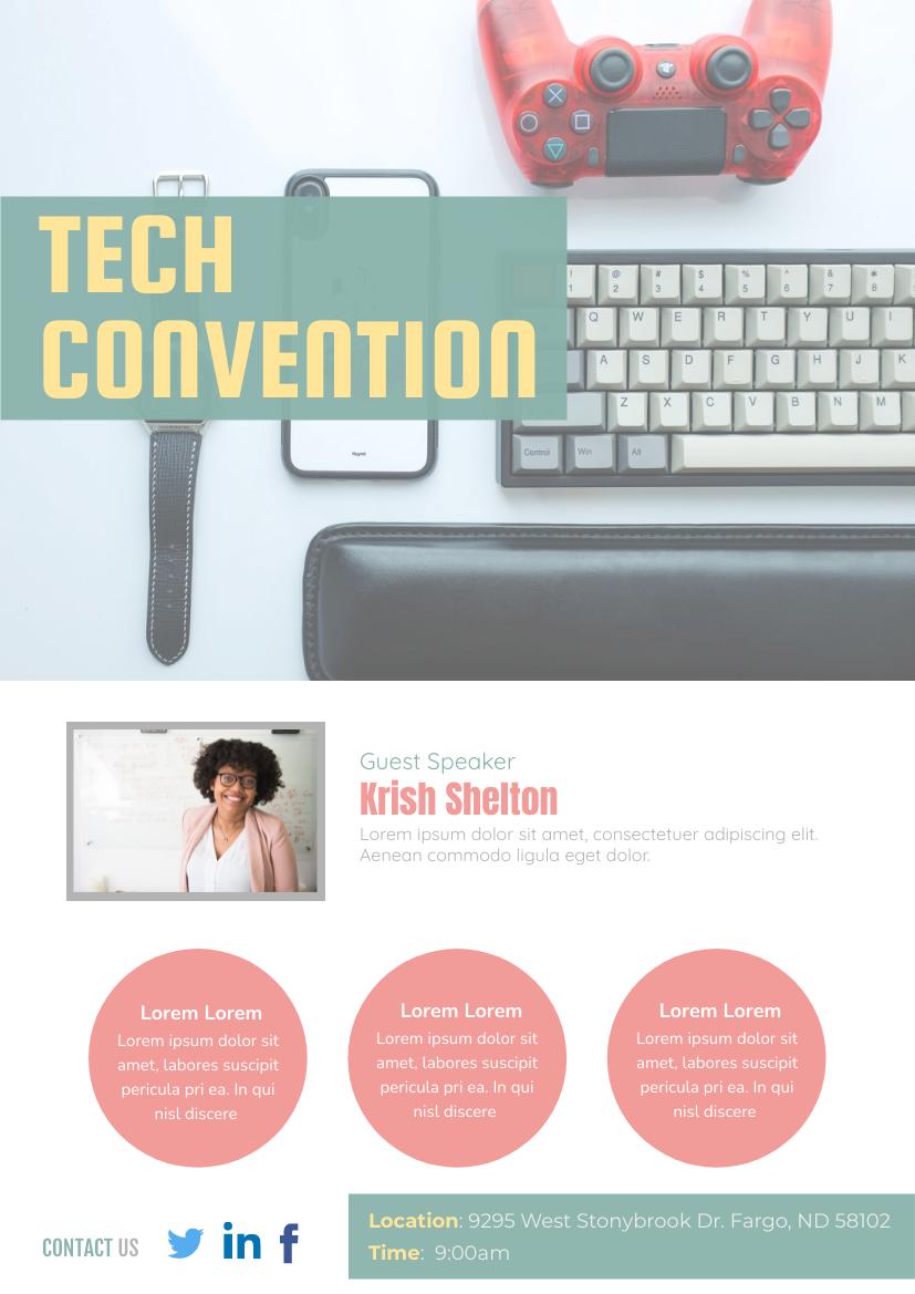 Flyer template: Technology Convention Flyer (Created by InfoART's Flyer maker)