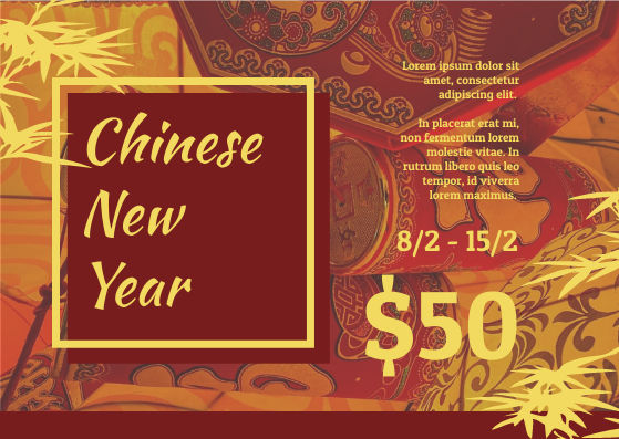 Gift Card template: Red And Yellow Chinese New Year Gift Card (Created by InfoART's Gift Card maker)