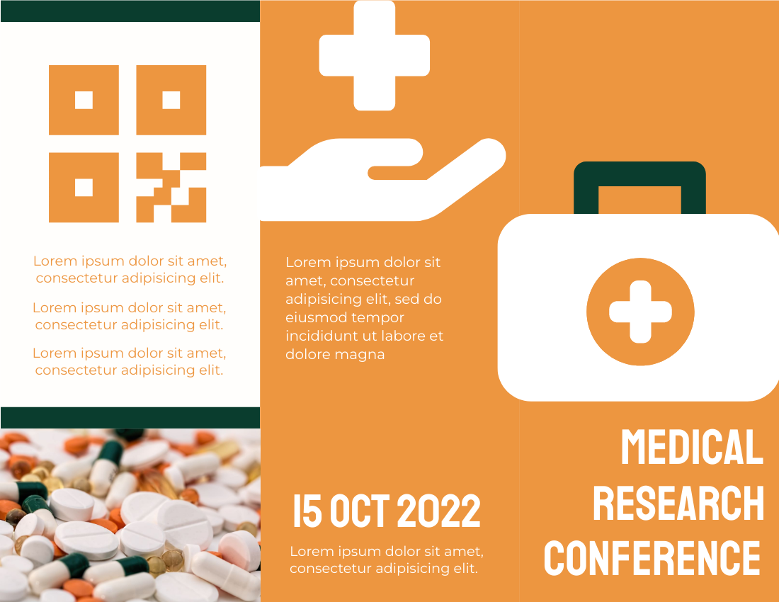 Brochure template: Medical Research Conference Brochure (Created by InfoART's Brochure maker)