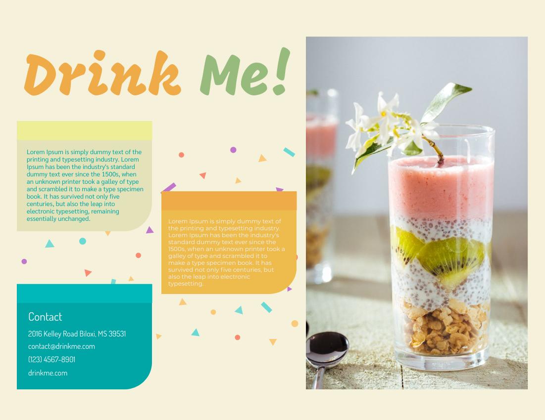 Brochure template: Smoothie Promotion Brochure (Created by InfoART's Brochure maker)