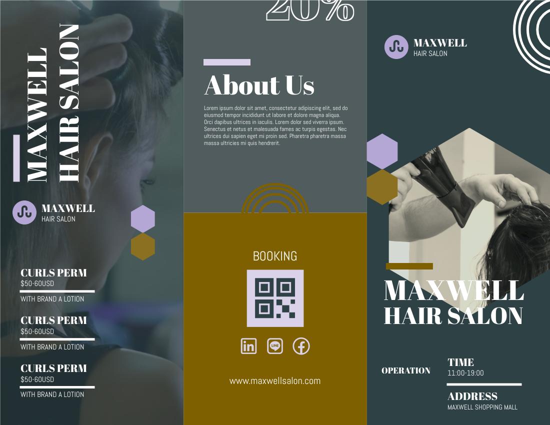 Brochure template: Green Hair Salon Booking Brochure (Created by InfoART's Brochure maker)