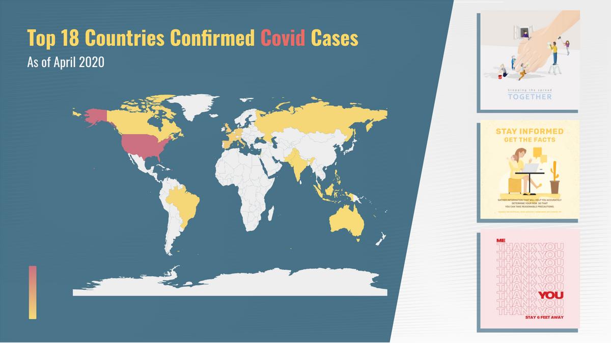 Geo Heatmap template: Top 18 Countries Confirmed Covid Cases Geo Heatmap (Created by Chart's Geo Heatmap maker)