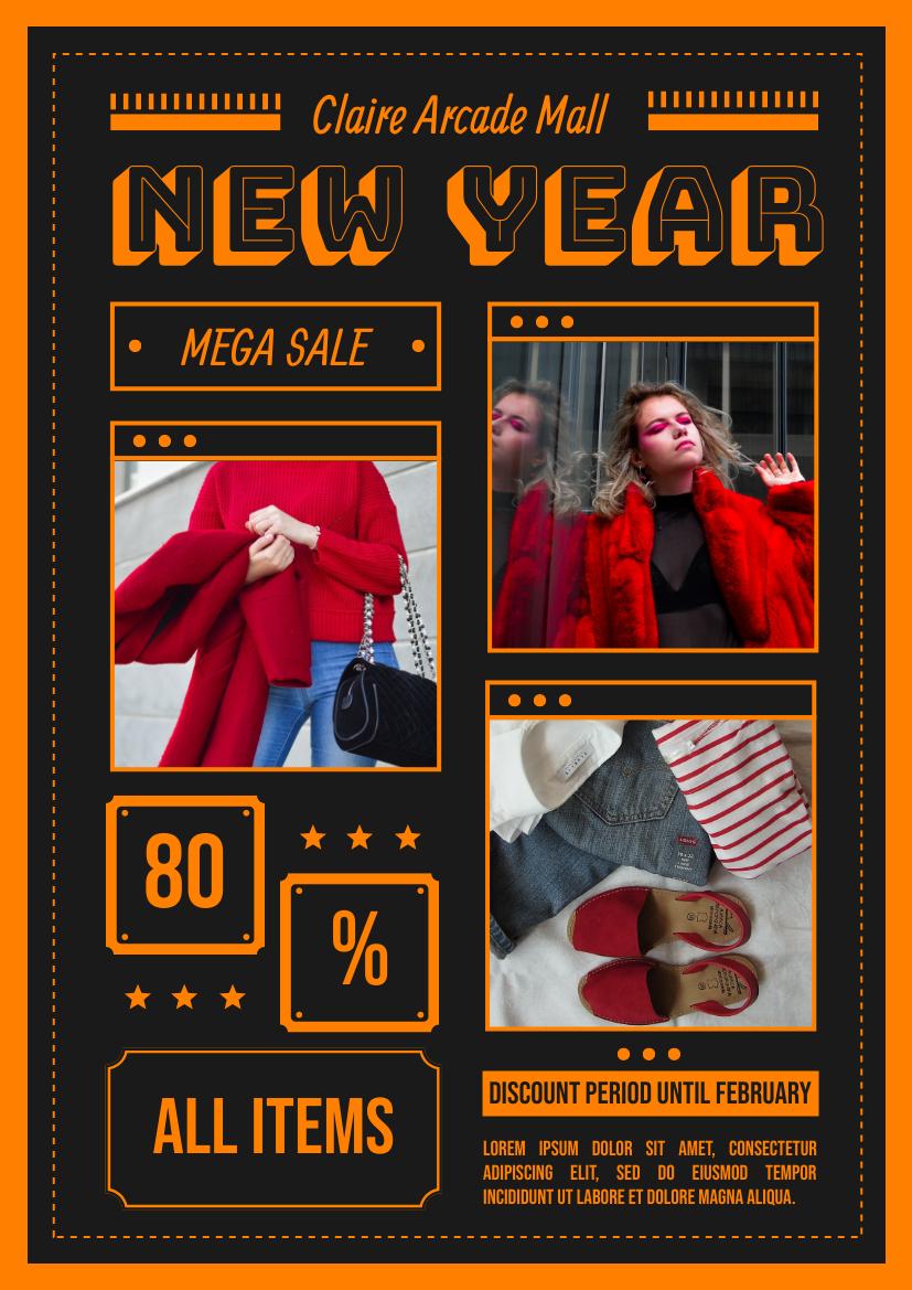 Flyer template: New Year Fashion Sale Flyer (Created by InfoART's Flyer maker)