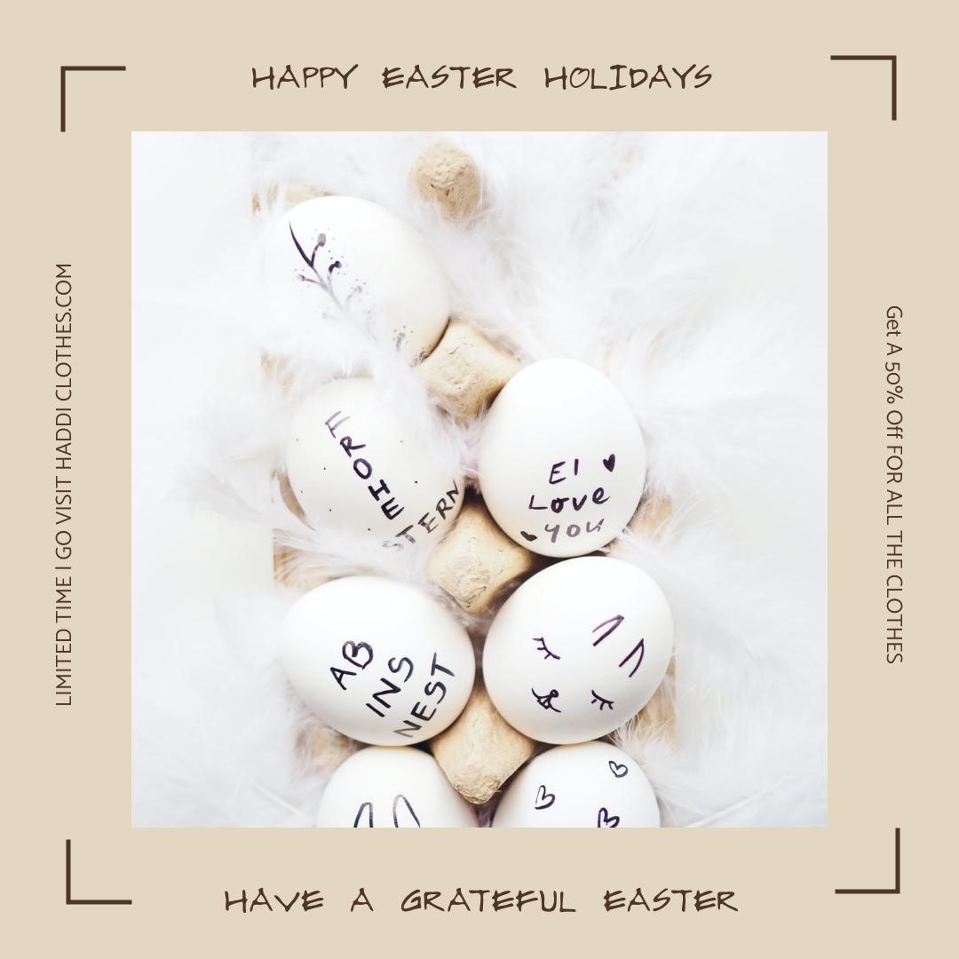Instagram Post template: Light Brown Easter Egg Easter Minimal Instagram post (Created by InfoART's Instagram Post maker)