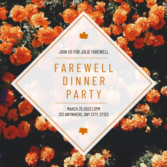 Invitation template: Orange Floral Photo Farewell Dinner Party Invitation (Created by InfoART's Invitation maker)