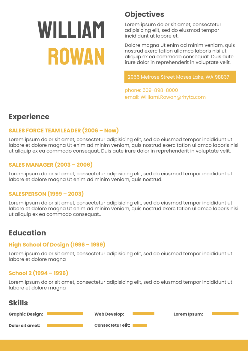 Resume template: Orange Resume 2 (Created by InfoART's Resume maker)