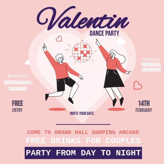 Invitation template: Valentine Dance Celebration Invitation (Created by InfoART's Invitation maker)
