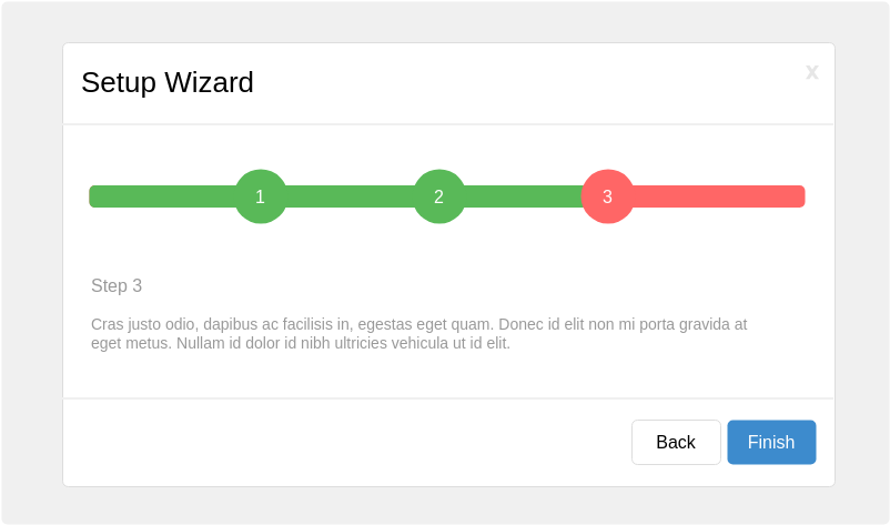 Bootstrap Wireframe template: Setup Wizard (Created by Diagrams's Bootstrap Wireframe maker)