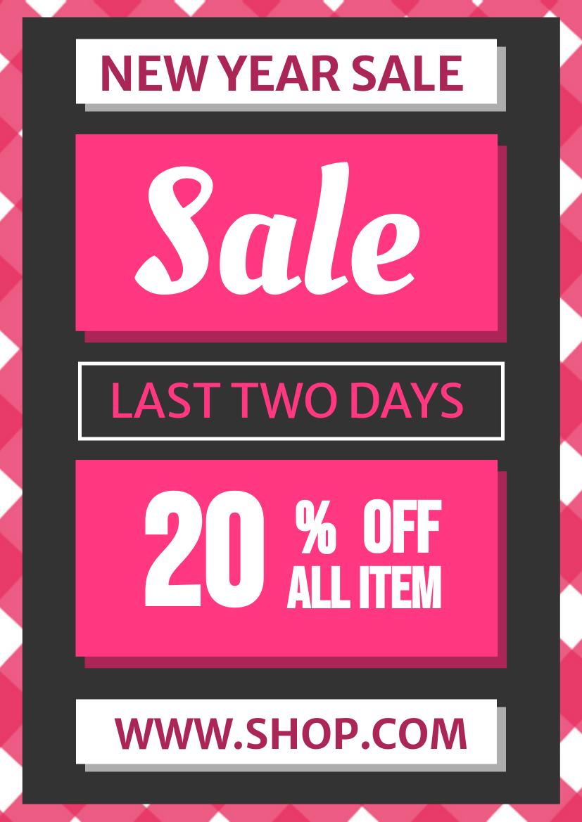 Flyer template: Bold Neon Pink New Year Flyer (Created by InfoART's Flyer maker)