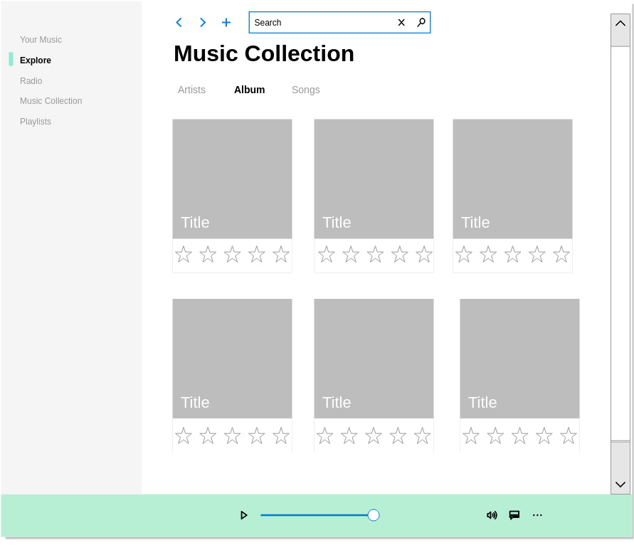Music App Fluent UI (Fluent Design Wireframe Example)
