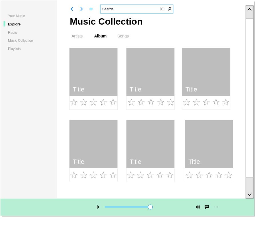 Music App Fluent UI (Fluent Design Wireframe Example)